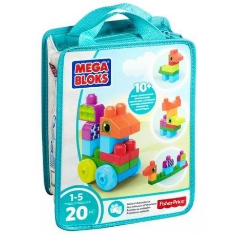 """MEGA BLOKS kaladėlių rinkinys """"Transporto priemonės/gyvūnai"""" ( krepšyje 20 det.)"""