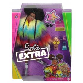 Barbė Extra lėlė margaspalviais kailinukais