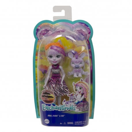 Enchantimals herojė zebrė Zadi su gyvūnėliu