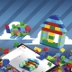 Mega Bloks vaivorykštės spalvų kaladėlės tūboje (220 det.)