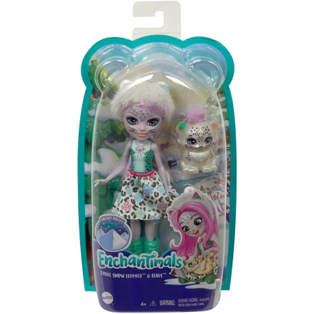 Enchantimals herojė snieginė leopardė Sibilė ir jos draugas