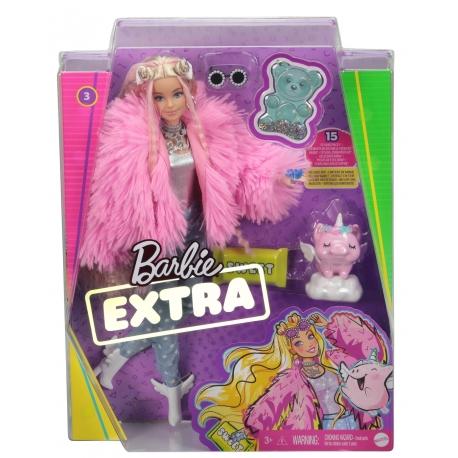 Barbė Extra lėlė rožiniais kailinukais